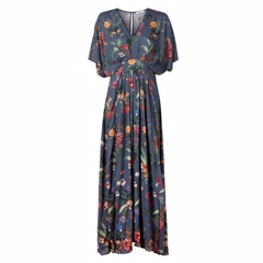Stenstrøms Dtress Long Slit Navy Floral 480025-6629